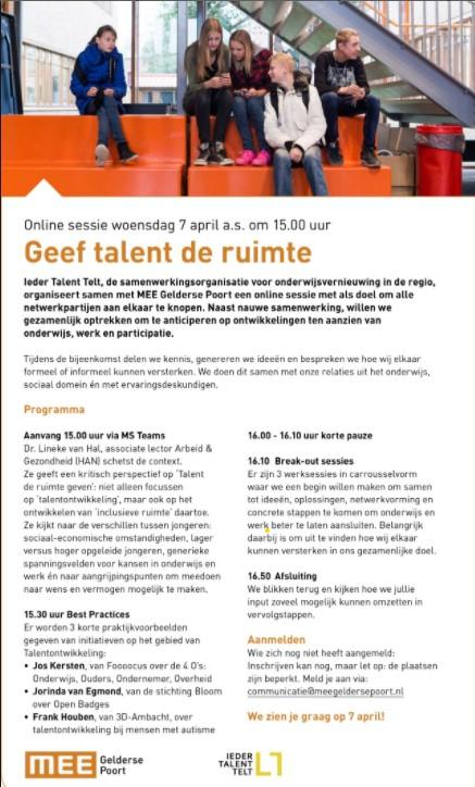 Geef talent de ruimte Ieder Talent Telt en MEE Gelderse Poort