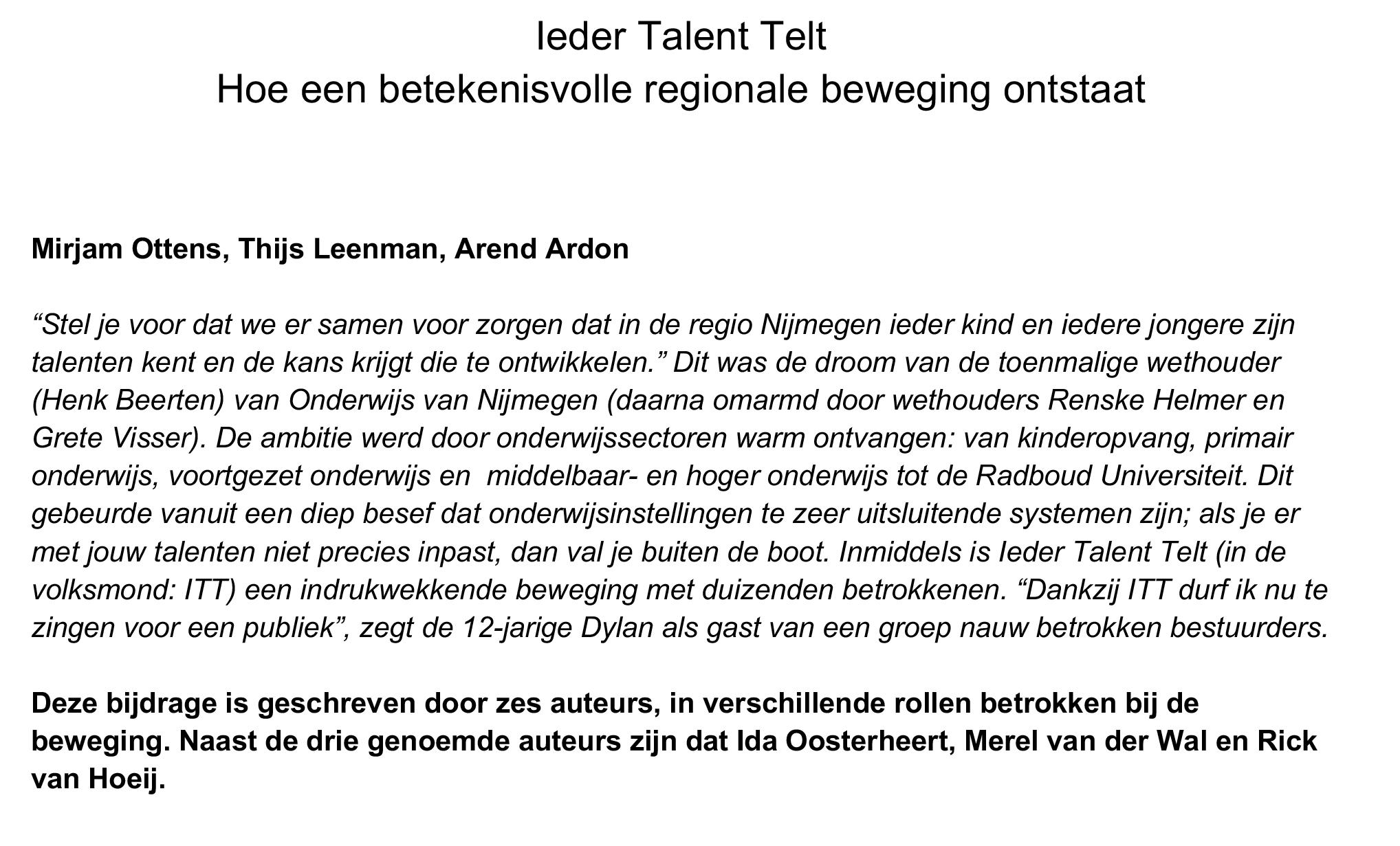 Ieder Talent Telt Hoe een betekenisvolle beweging ontstaat onderwijs Nijmegen